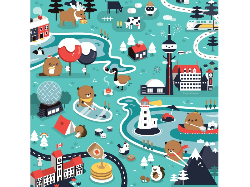 Canada architecture character design happy canada animal food vector illustration cute