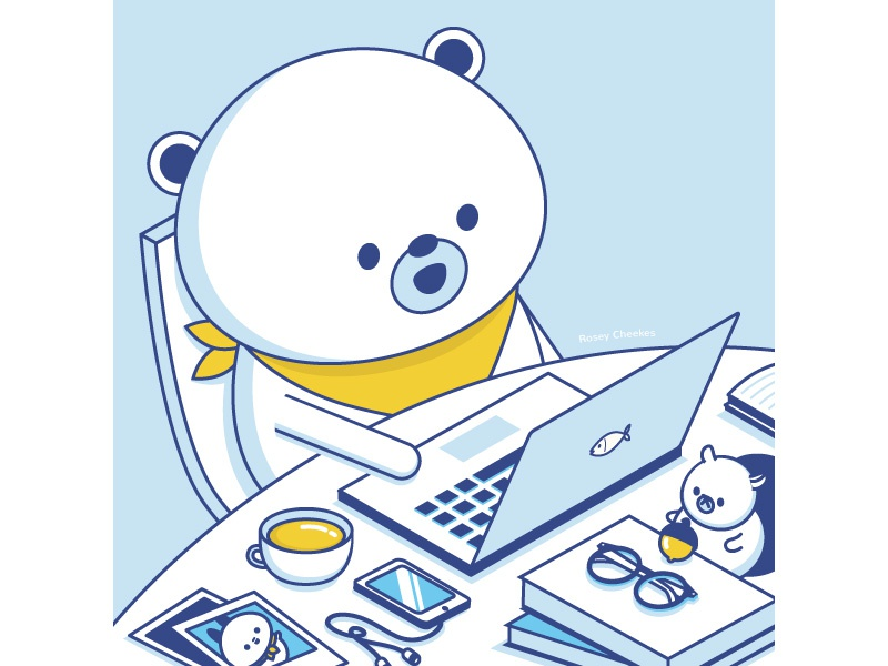 Mr Bear at Work blue squirrel bear minimalist character vector happy cute illustration