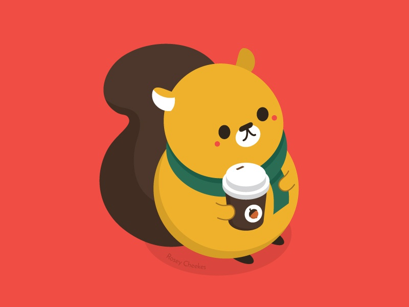 Mr Squirrel in the Fall coffee latte squirrel vector animal pop art cute character design illustration