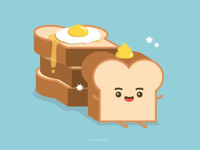 Mr Toast food vector pop art cute character design illustration
