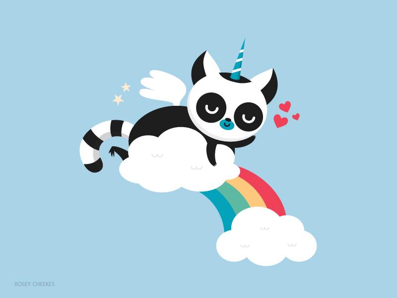 A colourful blend of creatures cute rainbow unicorn pegasus lemur animal
