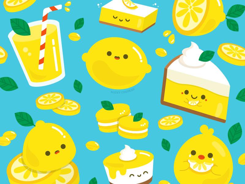 Lemons pattern lemon cute food summer vector illustration art