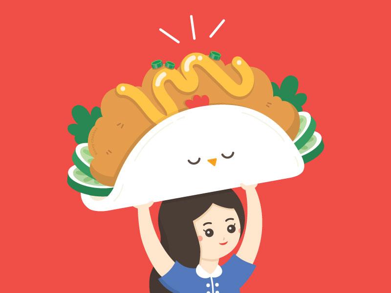 Fried Chicken Bao food character vector illustration art