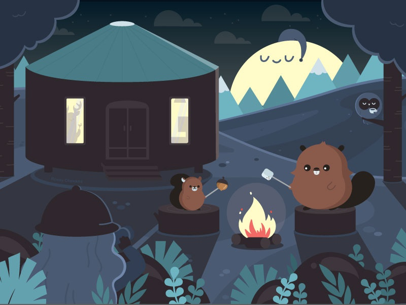 Bonfire Fun with Friends happy character design scenery vector cute illustration