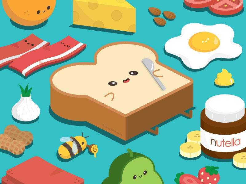 What do you like on your toast? happy character vector illustration food