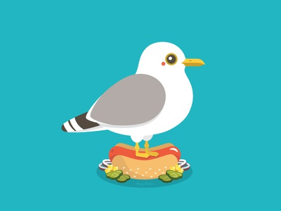 Seagull on Hot Dog character design seagull hot dog animal character happy food vector illustration cute