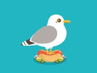 Seagull on Hot Dog