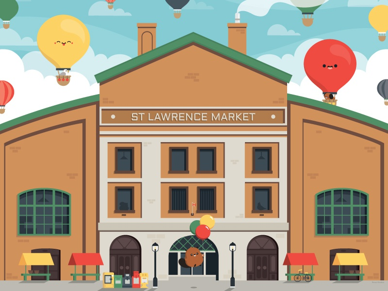St Lawrence Market balloon architechture character vector illustration cute