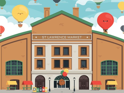 St Lawrence Market balloon architechture character vector illustration cute
