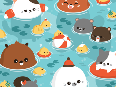 Fun in the Pool color animals illustrator animal character design character happy cute illustration