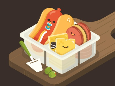 Charcuterie from Childhood color illustrator character design character happy food vector cute illustration