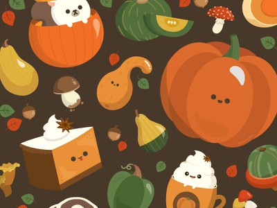 Pumpkins and Mushrooms pattern autumn fall design art illustrator character design food vector illustration cute