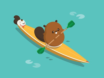 Summer Beaver canada animal character design character happy vector illustration cute