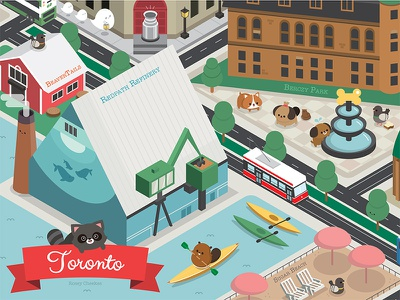 Illustrated Map of Old Toronto perspective isometric colorful illustrator animal character happy vector illustration cute