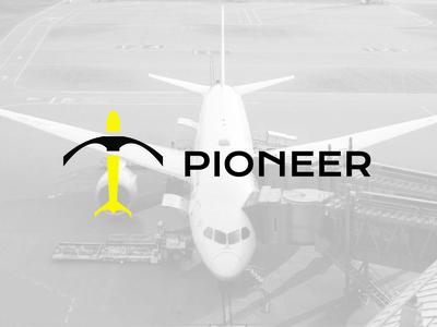 PIONEER airline pickaxe pioneer plane vector logo design dailylogochallenge