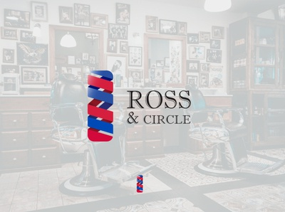 ROSS & CIRCLE barbershop barber vector logo design dailylogochallenge