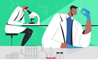 Vaccine lab ui design 2d illustration vector lab branding vaccine corona flatdesign illustrator illustration 2d character