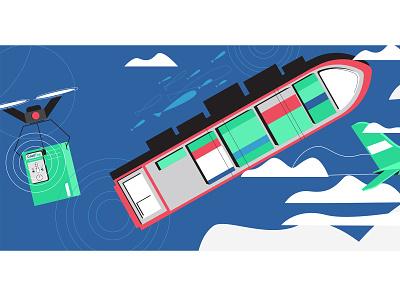 Transportation processes 🚢 design branding drone ship transportation vector illustrator 2d illustration illustration flatdesign 2d character