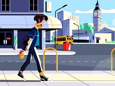Active-Class #1 on the way to school 🚌 ui education students school vector design flatdesign illustrator branding 2d illustration illustration 2d character