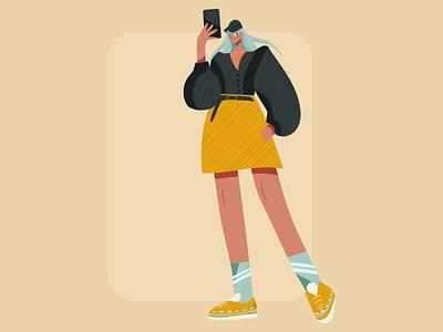 Selfie Girl ui fashion app artwork character fashion brand fashion illustration phone girl character 2d character lady women fashion girl fashion woman girl selfie vector 2d illustrator illustration