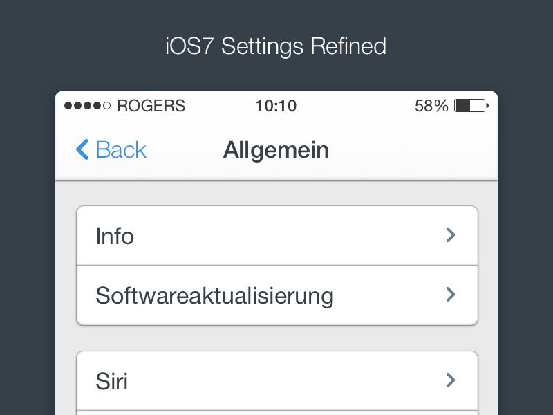 iOS7 - Settings (Refined) ios7 ui interface iphone app freebie free download