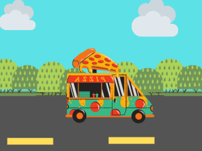 pizza truck illustration web typography type lettering website minimal logo illustration icon design branding art