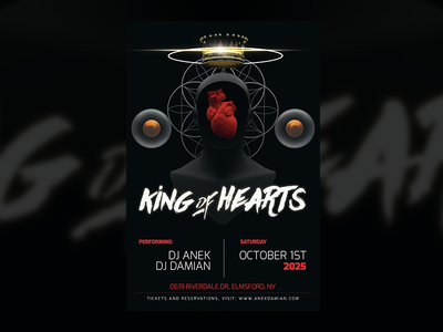 King of Hearts — Party Flyer Design Template birthday festival music electronic dj golden guns skull download design flyer party