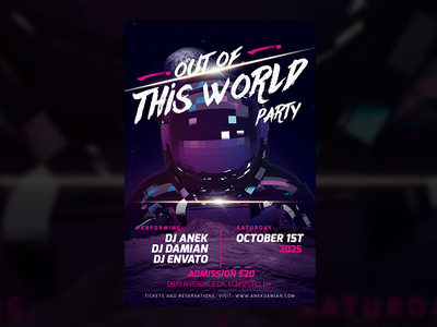Out of This World — Party Flyer Design Template birthday festival music electronic dj golden guns skull download design flyer party