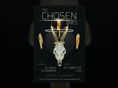 The Chosen Ones — Party Flyer Design Template birthday festival music electronic dj golden guns skull download design flyer party