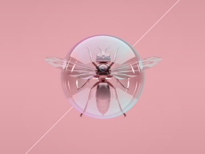 Trapped Wasp pink bubble cinema 4d c4d 3d modeling insect wasp