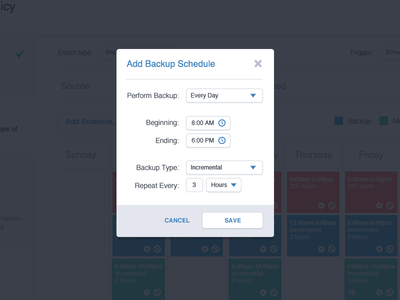 Backup Scheduling Modal