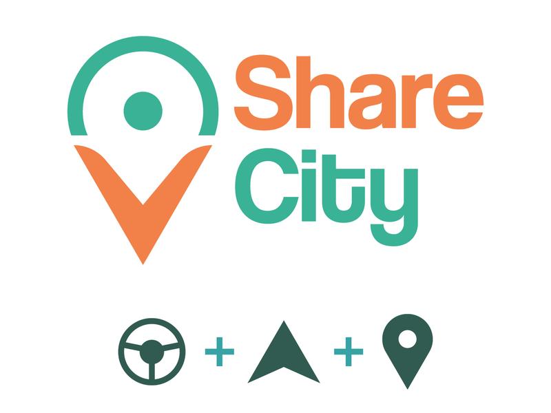 Daily Logo Challenge #29 - ShareCity ride app ride share ridesharing driver app graphicdesign design logo logodesign dailylogo dailylogochallenge