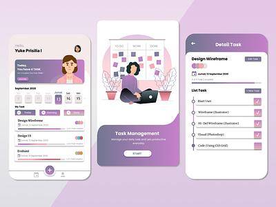 task management app flat task management figma mobile ui icon ux ui illustration design