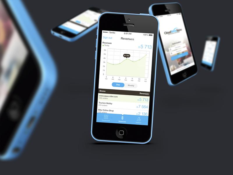 iOS: CloudWebStore app ui ios iphone graphic login web store