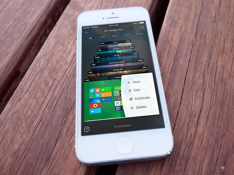 iOS: Remoter VNC ios app iphone vnc remote remoter control gallery concept ios 7