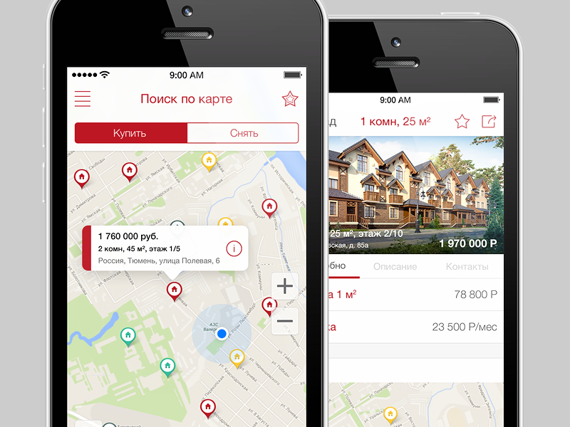 "iOS: Real Estate App ""Etagi"" ios app iphone map ui real estate home house find menu ios 7"