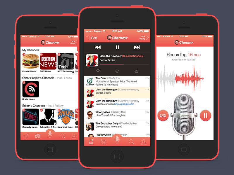 iOS: Clammr ios app iphone ui ios 7 audio twitter blog blogging grape mic