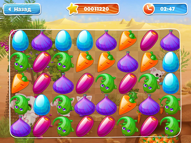3-in-Row Game for Yoohoo applications concept background game art game gui