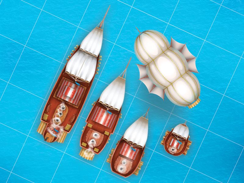Staempunk ships pack. imessages ux ui steampunk ship game art