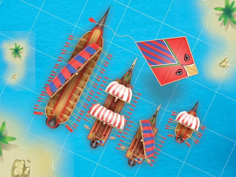 """Phoenician"" ships imessage game ux ui ancient ships art"