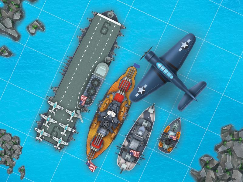 US navy sea battle ship imessages game ux art ui
