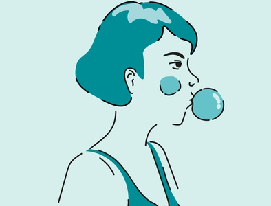 bubblegum illustrator portrait illustration portrait art woman portrait minimal soft pastel colors design vector bubblegum minimalistic line artwork blue illustration adobe illustrator