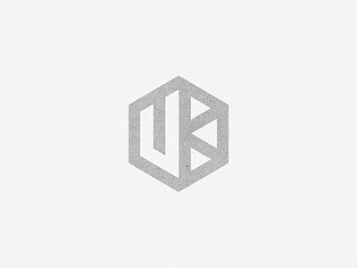UK  monogram mark uk hexagonal logo monomark negative space