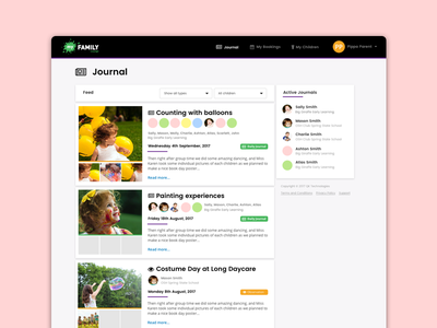 Child care Daily Journey App childcare journey dashboard ux design web app ui design