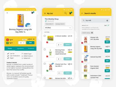 Shop & Compare Android App Design product designer uidesign uxdesign product design android app soy milk list shopping basket shopping