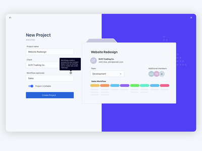 New Project Screen product design san francisco delight users ux design new project saas app