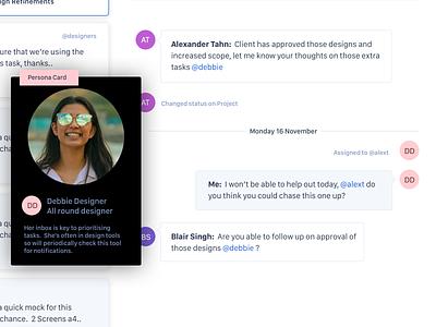 Messaging Concept personas ux design chat inbox messaging