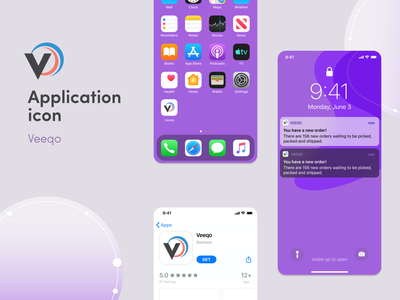 Veeqo Application Icon design web ecommerce figma icon design new iphone mockup iphone phone ui ux app design logo product application icon app veeqo