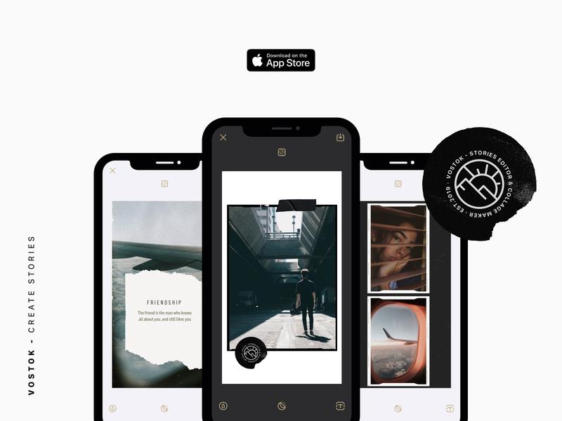 Vostok - Create Stories instagram stories mobile figma ios appdesign userinterface userexperience uiux app ux ui