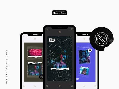 Vostok - Create Stories plastic bag plastic instagram stories design ios userinterface userexperience uiux app ux ui